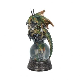Protection Everlasting Snow Globe Fantasy Green Dragon and Dragonling Figurine