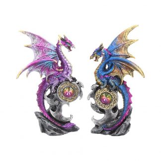 Realm Protectors Figurines Set of Two Fantasy Dragon Crystal Ornaments